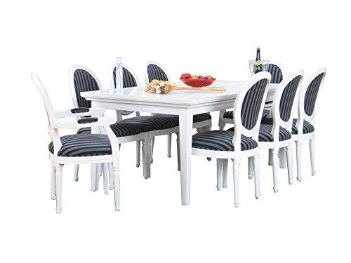 Essgruppe PARIS Esstisch Esszimmertisch Tisch Erweiterbar Rokoko massiv weiß