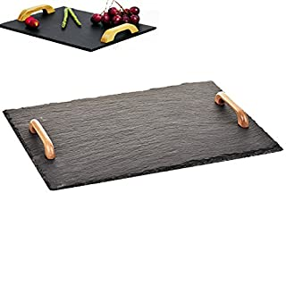 Ariana© Extra Large 40 X 30CM Tray Natural Slate with Wooden Handles Food Serving Cheese Platter Dessert Board Dinner