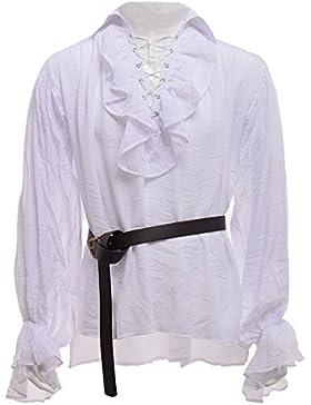 GRACEART Uomo Medievale nordico Camicie con Cintura