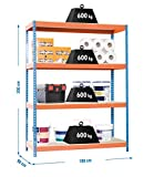 Simonrack Simonforte 1809-4 Chipboard Metal Naranja, Azul, Madera natural - Estanterías para el hogar (4 estanterías, Metal, Naranja, Azul, Madera nat