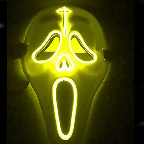 e LED3 Glitzer Horror Geistermaske Halloween Karneval Karneval Party Kostüm Cosplay Dekoration,Yellow ()