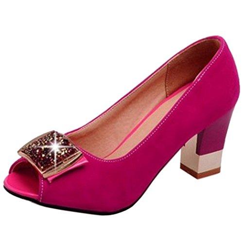 TAOFFEN Damen Mode Schlupfschuhe Peep-toe Blockabsatz Sandalen Rose Rot