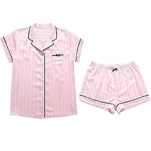 Pajamas Lady Summer Short sleeve shorts cute sweet comfort uk casual pink stripe printing home suit set,