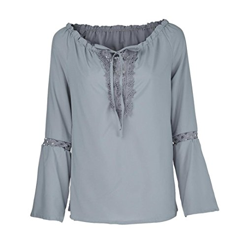 Xmiral Frauen Slash Neck Lange Ärmel Reine Farbe Spitze Splicing Tops Plus Size Bluse (3XL,Grau)