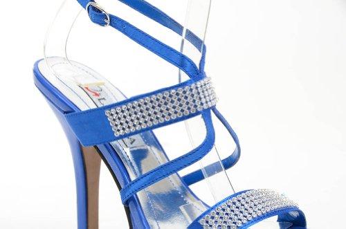 Funky Fourever da donna, modello Strappy con plateau, tacco Cavigliera con strass Blu (blu)