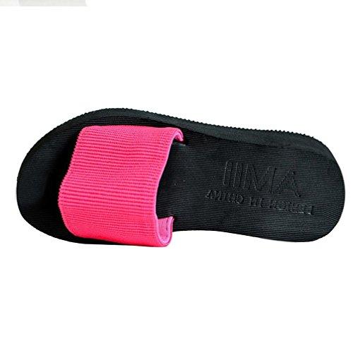 Rawdah Mode Pantoufles de Sandale avec Fond Épais Printemps et Été Sandales DÉté Femmes Âgées Sandales Plates Intérieure et Extérieure Confortables Dames Chaussures Rouge