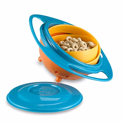 Inovera Creative Baby Feeding Bowl Toy Non Spill Universal Gyro Bowl Dish 360 Rotate Funny Gift,Assorted Colour