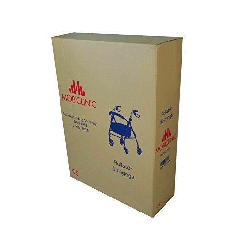 414 CVFIuIL - Andador para ancianos, Aluminio, Plegable, Frenos en manetas, Asiento y respaldo, 4 ruedas, Sinagoga, Mobiclinic