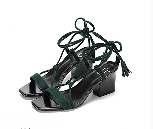 Donne scarpe in pelle estate sandalo tacchi,35 Rosa Green