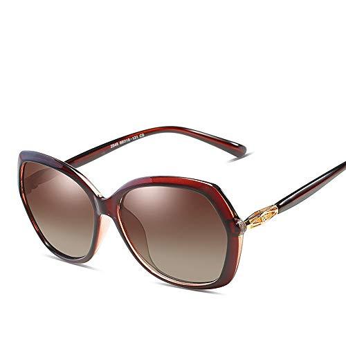 Easy Go Shopping Frauen Arbeiten Klassische große runde Rahmen-Weinlese-Art-UVschutz polarisierte Sonnenbrille für um Sonnenbrillen und Flacher Spiegel (Color : Braun, Size : Kostenlos)