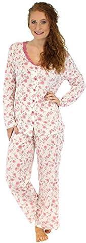 Sleepyheads Pyjama mit langen Ärmeln für damen zweiteiliger schlafanzug aus baumwolle mit knopfleiste (STCJ1SPR-LRG)
