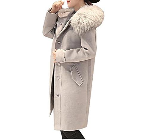 Fourrure Hiver Col Laine Laine à Capuche Veste Manteau De La Femme,Grey-M