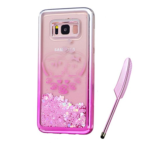 Galaxy S8 Plus Case, Silver Pink Plating Design, Edaroo 3d Cool Flowing Liquid Bling Sparkle Pink Hearts Glitter StyleCute Rose Owl Couple Pattern Slim Thin Fits Soft Rubber TPU Bumper Protective Case Cover for Samsung Galaxy S8 Plus
