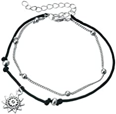 Shining Diva Fashion Best Selling Italian Designer Silver Plated Anklets for Women (Black)(9779a)