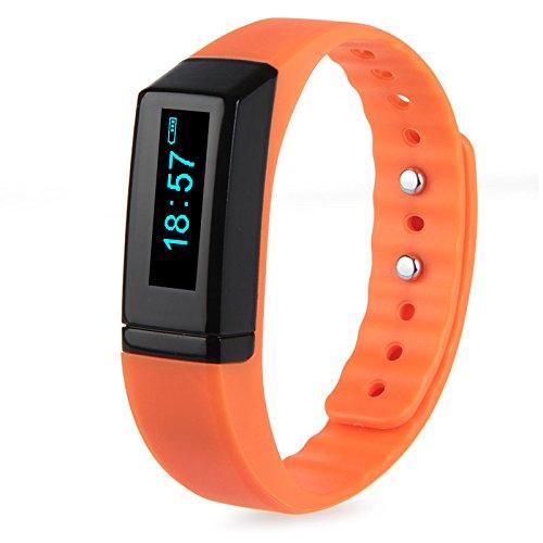 padgene Fitness Deporte Smart Watch Reloj de pulsera Pulso Reloj Podómetro Contador de Calorías Paracord para Android IOS naranja naranja