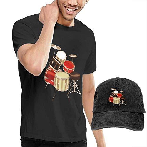 Kalinanai T-Shirts, T-Stücke, Drum Set Printed Men's Cotton T-Shirt mit rundem Kragen und Verstellbarer Baseballkappe