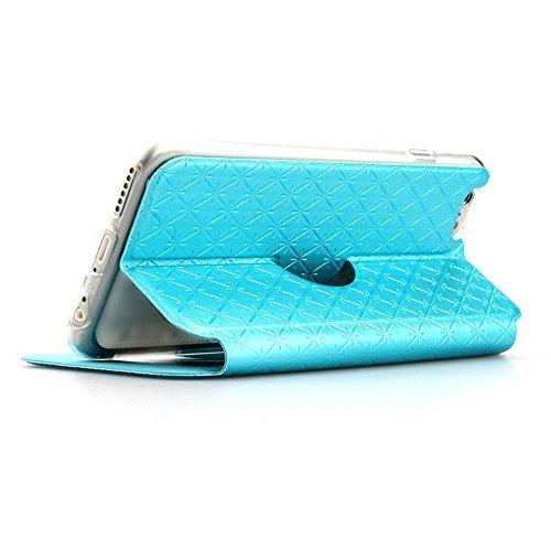 iPhone 6Cas, de haute qualité en cuir PU de Luxe en fenêtre avant Touch Support confortable Coque pour iPhone 6Coque 11,9cm bleu