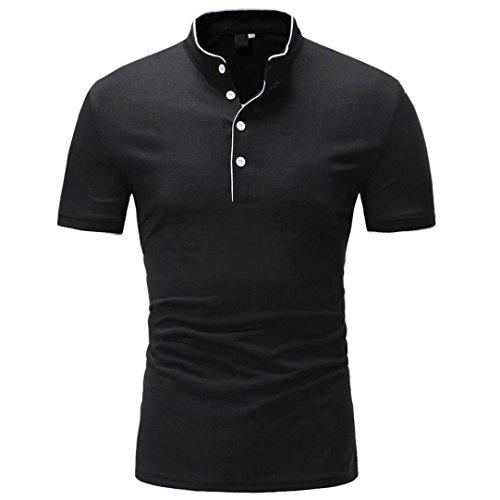 Sannysis Männer Oversize Herren Shirt Slim Fit Schwarz Bedruckte Kurzarmshirt T-Shirt Tee (XXL, Schwarz) (13 Tee)