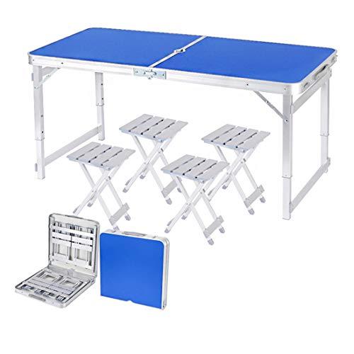 Einstellbare Aluminium Camping Tisch Picknicktisch Silber und Camping Möbel Set mit 4 Stühlen Leichte Klappgarten Balkon Arbeit