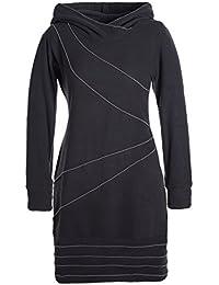 Vishes - Alternative Bekleidung - Langärmliges Patchwork Hoodie Eco Fleecekleid mit Daumenlöchern