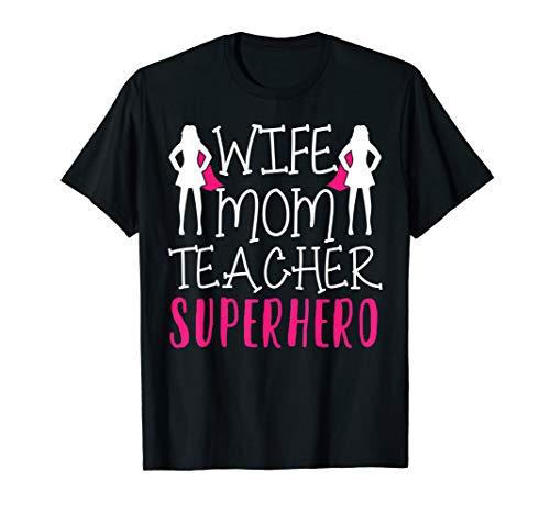 Frau Mutter Lehrer Superheld Muttertag T-Shirt
