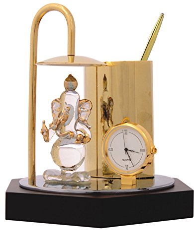 Deals Outlet Ganesh Ji Crystal Showpiece,Classic Table Clock & Stylish Pen Stand - Brass & Stainless Steel ,In Gold & Silver Plating
