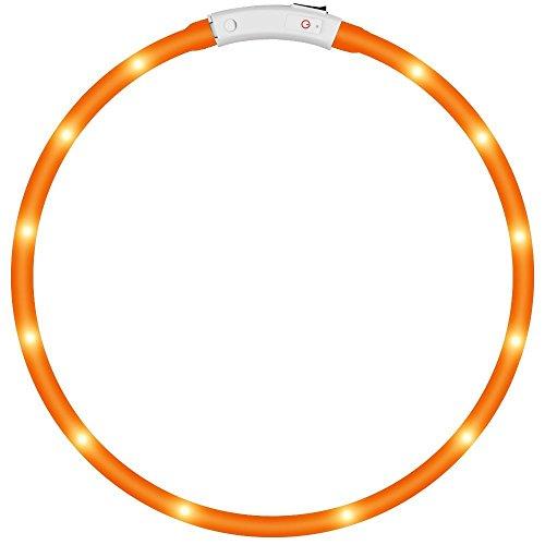 KEKU LED-Haustier-Hundehalsring, führte USB-nachladbares Haustier-Sicherheits-Kragen-wasserdichte helle Länge 50cm (19.5in) Justierbarer Blinkender Kragen (Gelb blinkend) -