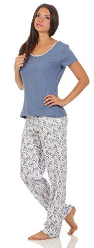 Petro 44-46/L Rauchblau Damen-Schlafanzug kurzarm kurzer arm pyjama frau Frauen kamen dame kurzer schlafanzug damen schwarz kurzer schlafanzug damen xxl luftiger sommerlicher pyjama Gr. S M L XL (Kurzarm-pyjamas)