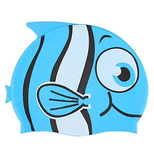 Ouken Niedliche Kinder SCHWIMMKAPPE für Kinder von Silikon Wasserdichten Badekappen, blau -