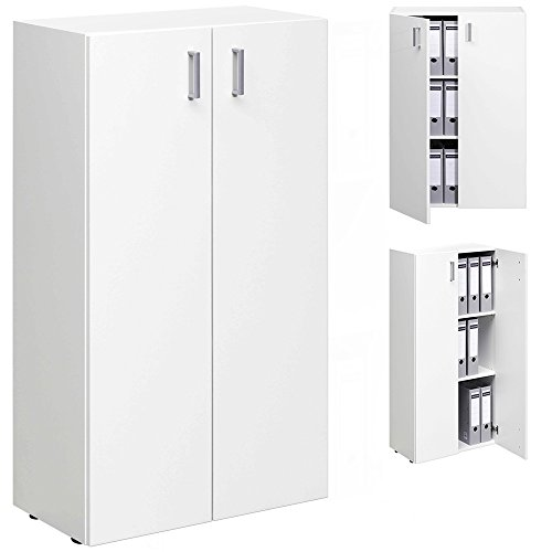 TRIO Standregal Bücherregal Bücherschrank Regal Mehrzweckschrank Schrank mit 2 Türen - 115,5cm - weiß - 2