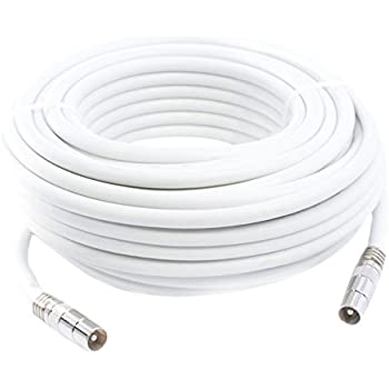15m Câble d'extension Pour Antenne Tv, Câble Coaxial Blanc, Connecteurs Mâle / Mâle Avec Adaptateur Femelle