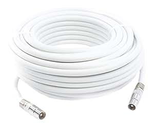20m Câble d'extension Pour Antenne Tv, Câble Coaxial Blanc, Connecteurs Mâle / Mâle Avec Adaptateur Femelle
