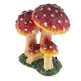 FLAMEER Miniatur Pilz Minipuppenhause Bonsai Blumentopf Garten Mcro Landschaft - Dunkelrot C