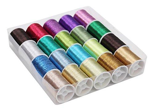 Metallisches Stickgarn - 20 teiliges(62m) Glitzerndes Garn Faden Set - Polyester Nähgarn in Verschiedenen Farben für Stickerei, Quilten - Polyestergarn Ideal für Nähmaschinen Nähen oder Handarbeit