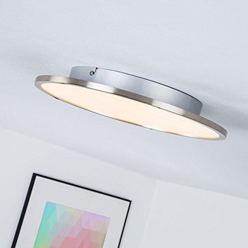 LED Panel 20W Deckenleuchte, Ø 35 cm rund, dimmbar mit Lichtschalter, 2000 Lumen, 3000K warmweiß, Metall / Kunststoff, eisen / weiß