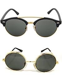 6feeb49ca9 Aventus Sunglasses Combo- Golden Round Sunglasses   Round Clubmaster  Sunglasses for Men   Women (