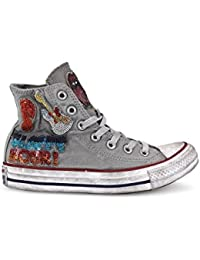 Converse Unisex Adulto, Chuck Taylor All Star High Limited Edition, Pelle, Sneakers Alte, Grigio, 36 EU