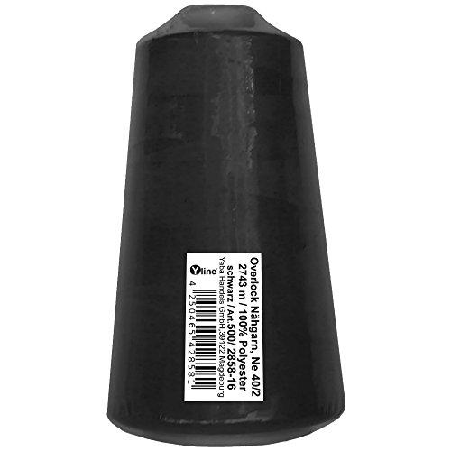 1 Stück Spule Overlock - Nähgarn, schwarz, a. 2743 m, NE 40/2, 100% Polyester, Nähfaden, Nähmaschinen Garn, 2858-16