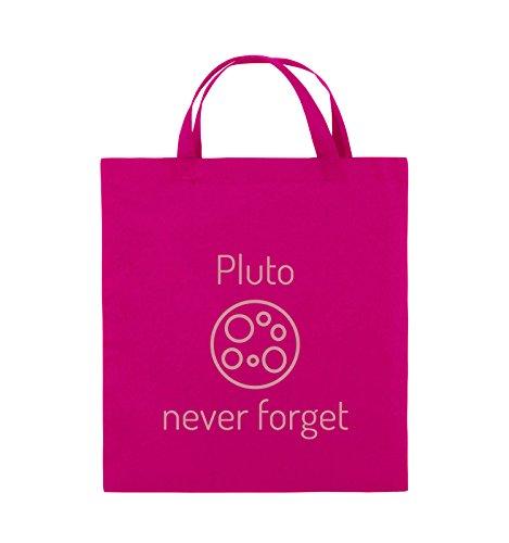 Borse Comiche - Pluto Mai Dimenticare - Borsa In Juta - Manico Corto - 38x42cm - Colore: Nero / Argento Rosa / Rosa