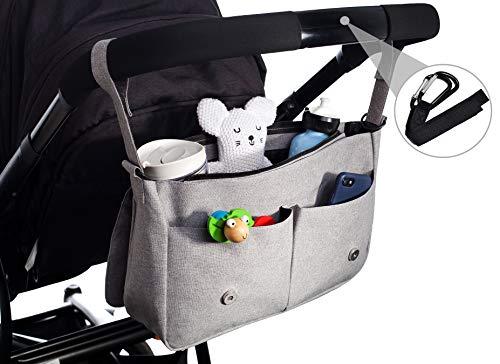 Kinderwagen-Organizer von EMJA I Premium Buggy-Tasche grau mit Reißverschluss I Perfekte Aufbewahrungstasche mit Karabiner-Haken zum umhängen I Deluxe Wickeltasche wasserdicht (Deluxe Organizer)