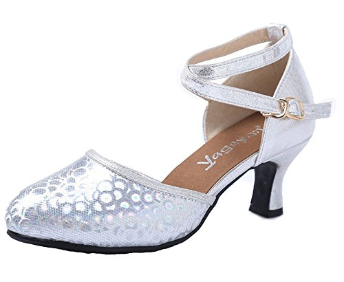 Dayiss Damen Latein Schuhe Abendschuhe Knöchelriemen Schnalle Silber