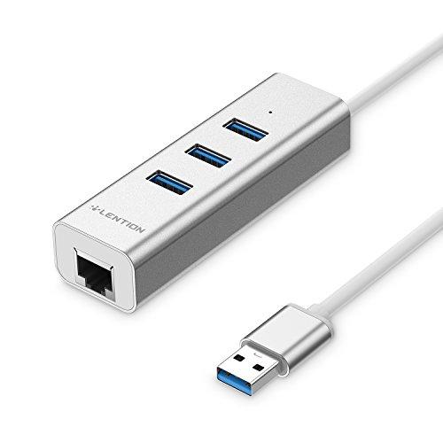 LENTION USB HUB Ethernet Adapter auf 3 Superspeed Ports USB 3.0 + RJ-45 Port Netzwerkadapter für apple iMac, MacBook Air, MacBook Pro, Surface Pro Laptop Book, und Mehr, Aluminum Lan Adapter - Silber (Ethernet Laptops Thinkpad)