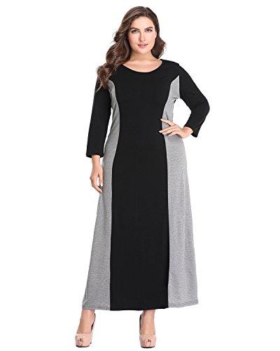 Jacansi Women Plus Size Long Dresses Casual 3/4 Sleeve Loose Long Party Dress UK 14-20