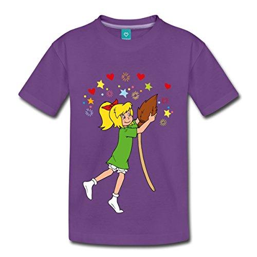Spreadshirt Bibi Blocksberg Tanzt mit Ihrem Besen Kartoffelbrei Kinder Premium T-Shirt, 122/128 (6 Jahre), Lila (Einheitliche T-shirt Lila)