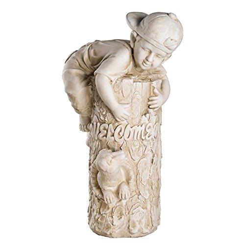 Wetterfeste Große schwere (6 kg) Statue Kinderfigur Welcome 52 cm hoch SYL-A 14078 Gartenfigur, Dekofigur, Statue, Figur, Büsten, Dekorationsfigur für Innen und Außen, Polyresin , Gartendekoration, Gartenfigur, Skulptur in ANTIKBEIGE