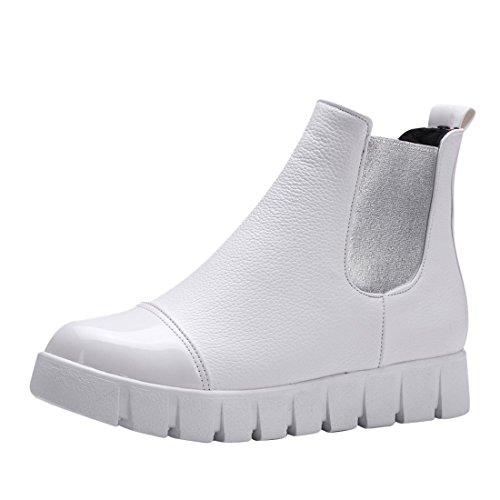 Agodor Damen Flache Keilabsatz Chelsea Boots mit Fell und Plateau Winter Bequem Stiefeletten Moderne Schuhe