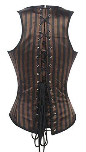 TDOLAH Damen Retro Gothic Steampunk Korsett mit Stahlstäbchen Brokatmuster mit Jacke und Gürtel 22031 Braun