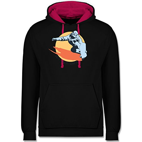 Wintersport - Do it live it love it - snowboard - Kontrast Hoodie Schwarz/Fuchsia
