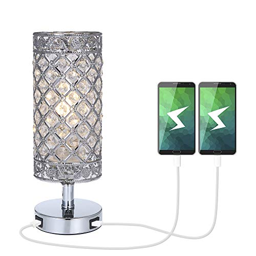 Tomshine lámpara de mesa multifuncional con dos puertos de carga USB, tiene una pantalla plateada con cristal K5, es una luz decorativa perfecta para su hogar.  Presupuesto: Material: hierro y cristal K5 Color: plateado Adaptador: E-U Entrada: CA 22...