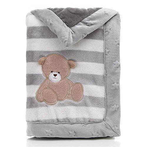 Babydecke, LANDOR Doppelschichten Flanell weiche Babydecke Winter warme Streifen Plüsch Kleinkind Decke bequeme Kinderwagen Decke (Grauer Bär)